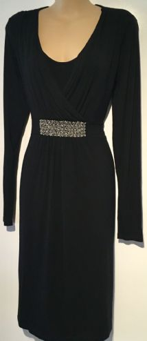 MAMALICIOUS MATERNITY & NURSING BLACK JEWELLED DRESS SIZE M 12